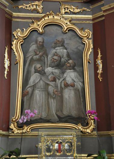 Gemälde der Fünf Märtyrer-Brüder im Altar in Kirche St. Martin in Kazimierz Biskupi