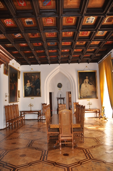Dining hall with Polish knightly coats of arms