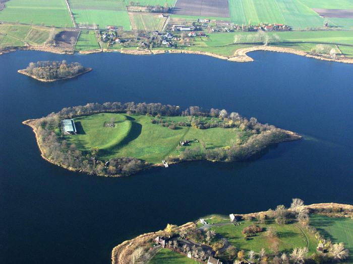 Aerial view of Ostrów Lednicki