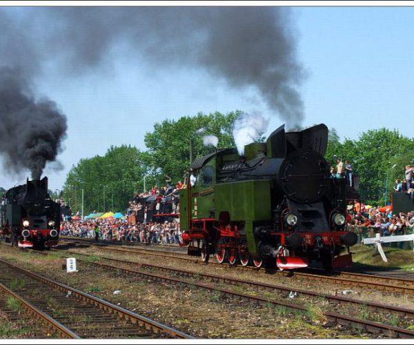 Steam engines parade in the last European working steam engines depot in Wolsztyn