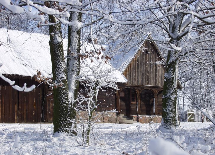 Wintertime landscape at the Folk Culture Museum site, Osiek-nad-Notecią