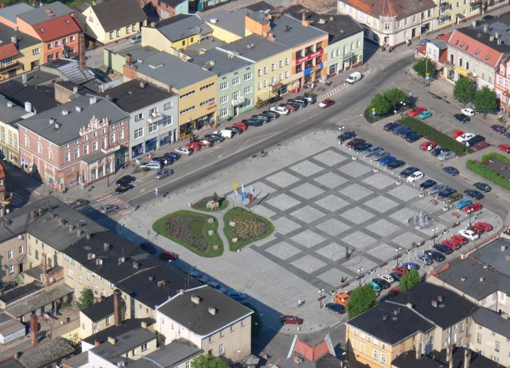 Aerial view of the Oborniki market square