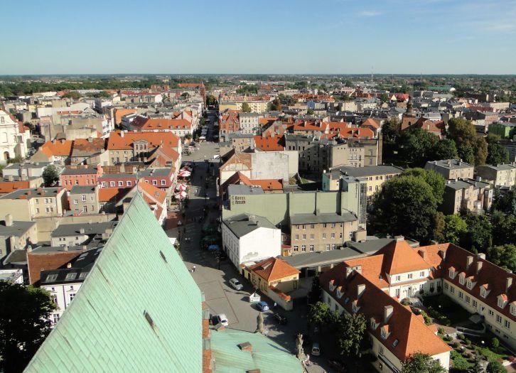 Widok z katedralnej wieży w Gnieźnie