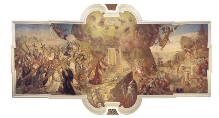 Plafon Adama Swacha w czytelni klasztornej w Lądzie