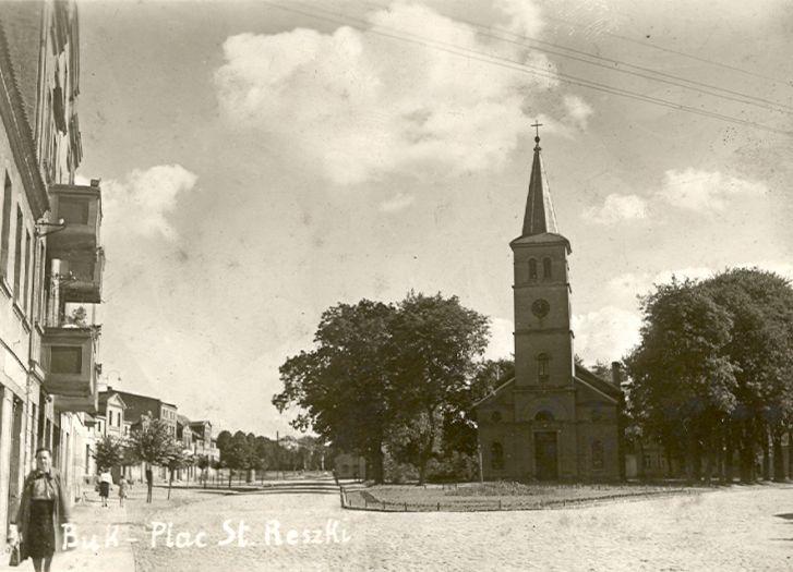 Przedwojenny widok na kościół ewangelicki w Buku