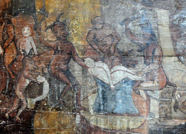 Fragment polichromii przedstawiający męki piekielne w kościele w Słupcy