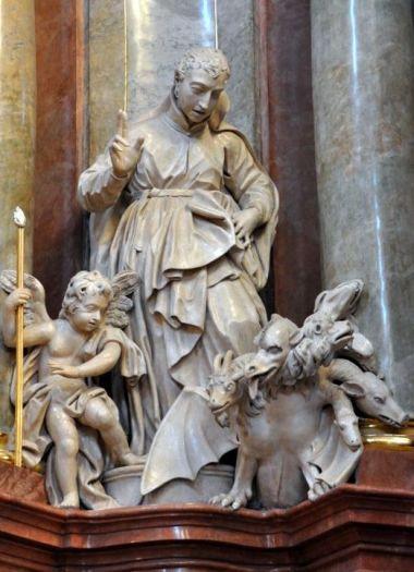 Św. Stanisław Kostka w ołtarzu głównym kościoła farnego w Poznaniu
