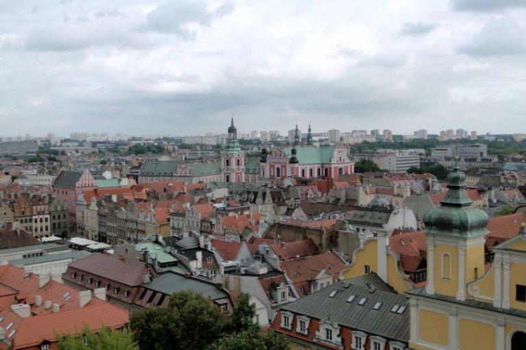 Widok z wieży zamkowej na Poznań